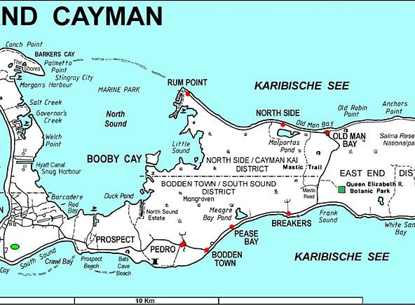 map of grand cayman broken down into districts